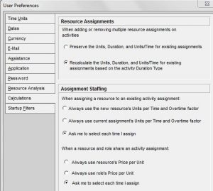 resource assignment settings