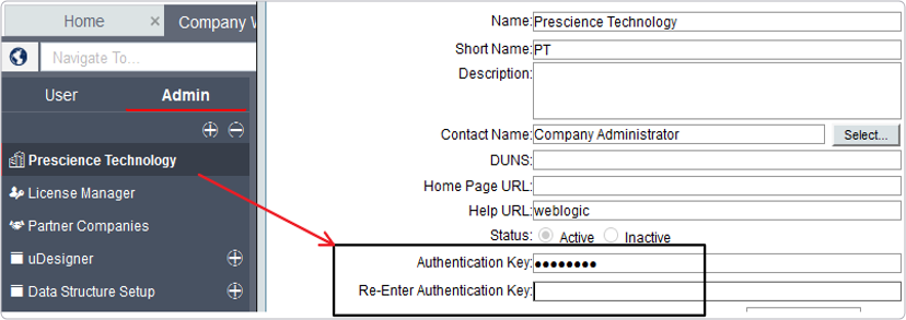 Unifier Setup - how to define authentication key