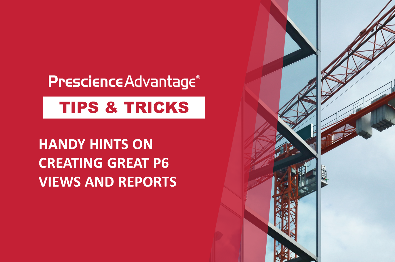 HANDY HINTS ON CREATING GREAT P6 VIEWS AND REPORTS